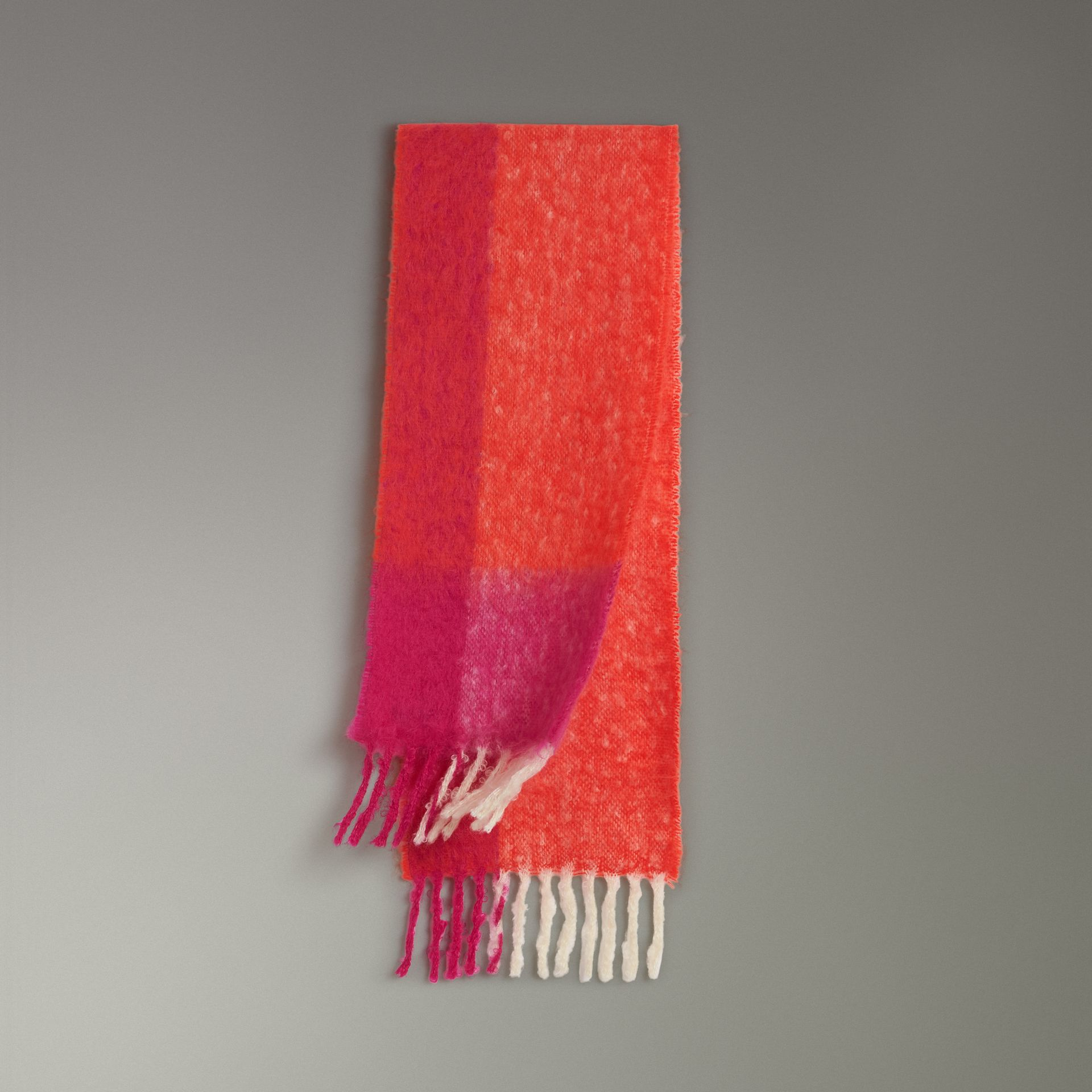 Two-tone Mohair Wool Scarf in Clementine | Burberry - gallery image 0