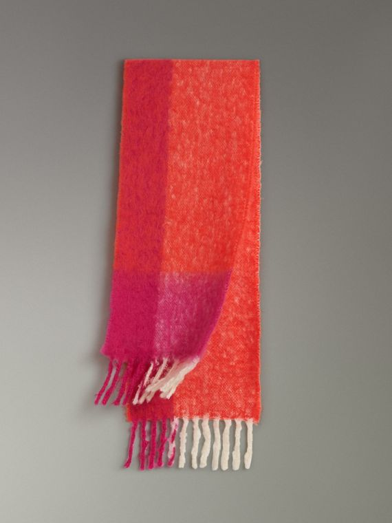 Two-tone Mohair Wool Scarf in Clementine