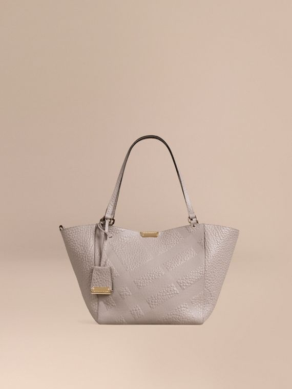 The Small Canter in Check Embossed Leather Pale Grey