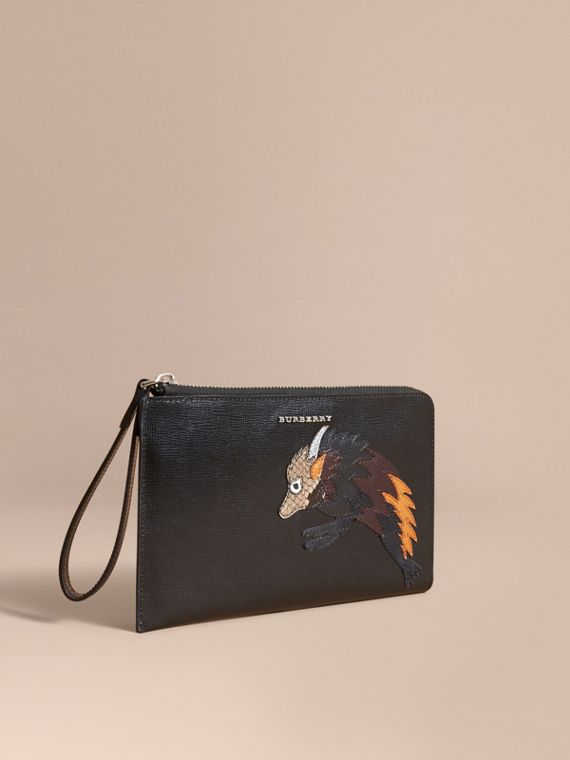 Beasts Motif Leather Travel Wallet - Men | Burberry Singapore