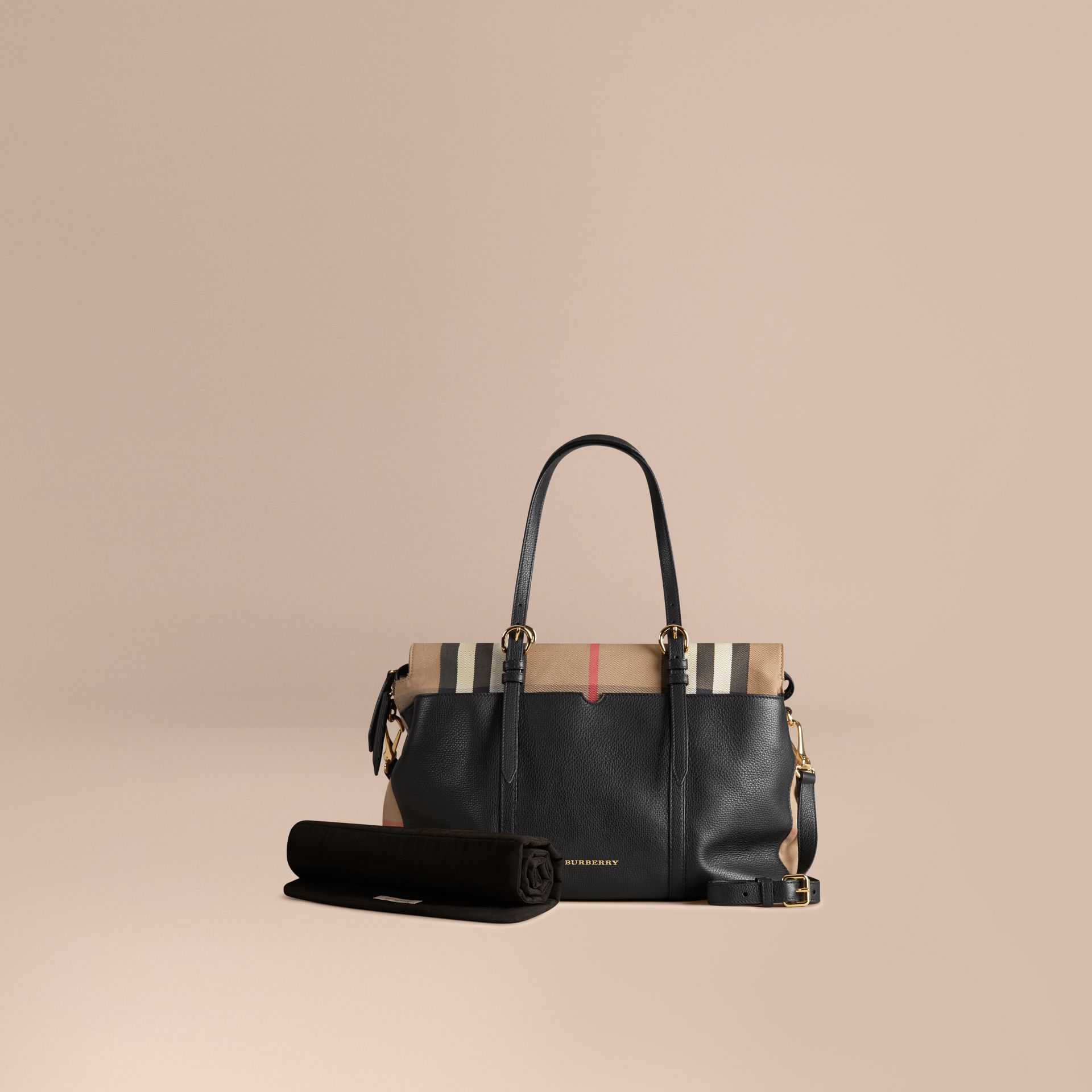 House Check and Leather Baby Changing Bag in Black | Burberry - gallery image 1