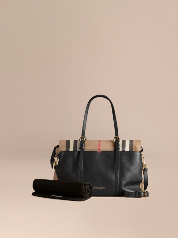 House Check and Leather Baby Changing Bag in Black