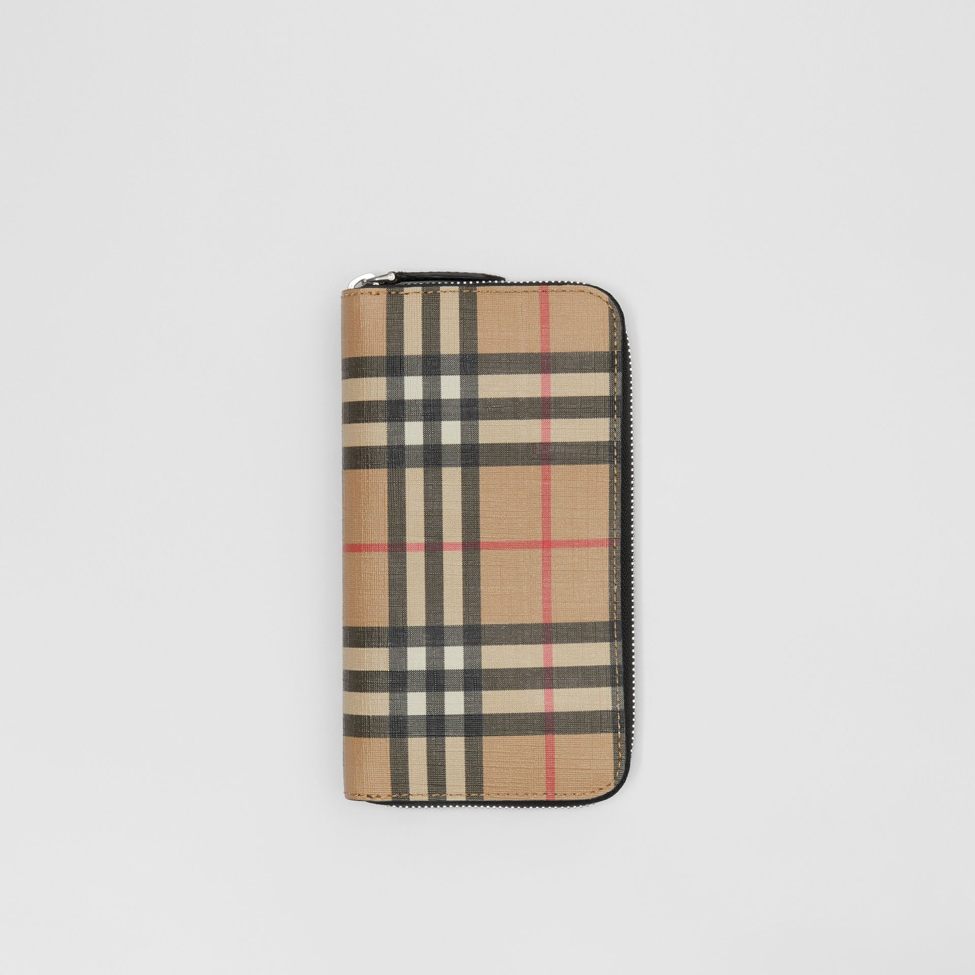 Vintage Check E-canvas Ziparound Wallet in Archive Beige - Men | Burberry Australia - gallery image 0
