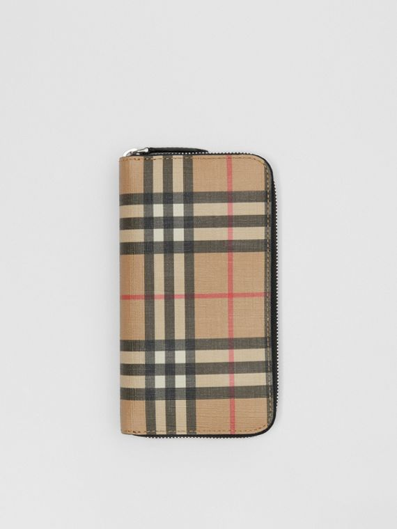 Vintage Check E-canvas Ziparound Wallet in Archive Beige