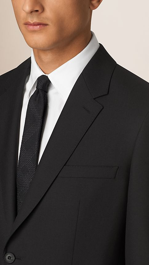 Black Classic Fit Wool Part-canvas Suit Black - Image 3