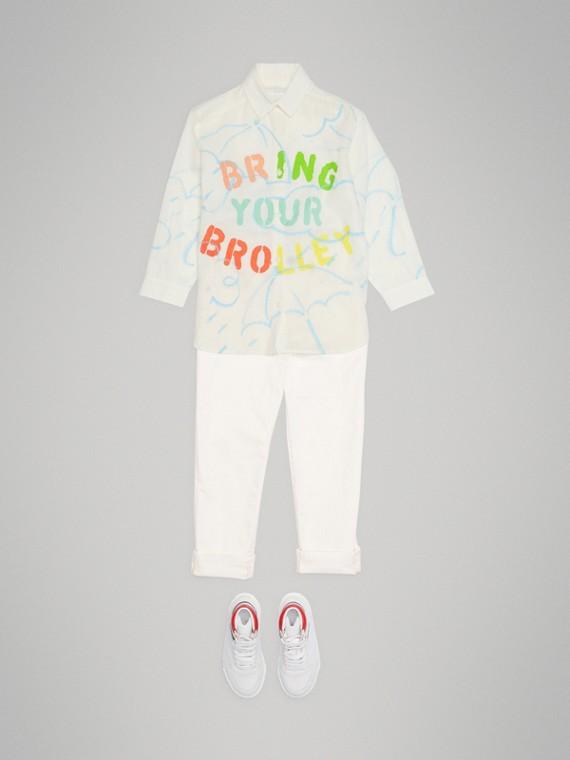 Camisa de linho e algodão com estampa de guarda-chuva (Branco)