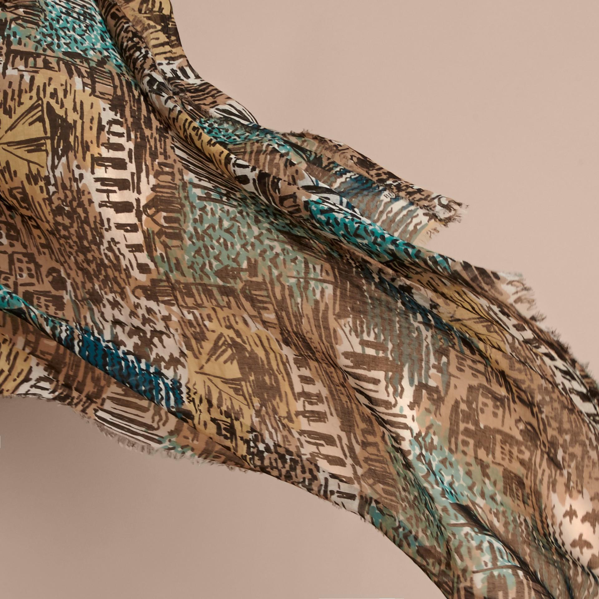 British Seaside Print Cotton Cashmere Scarf Aqua Green - gallery image 3