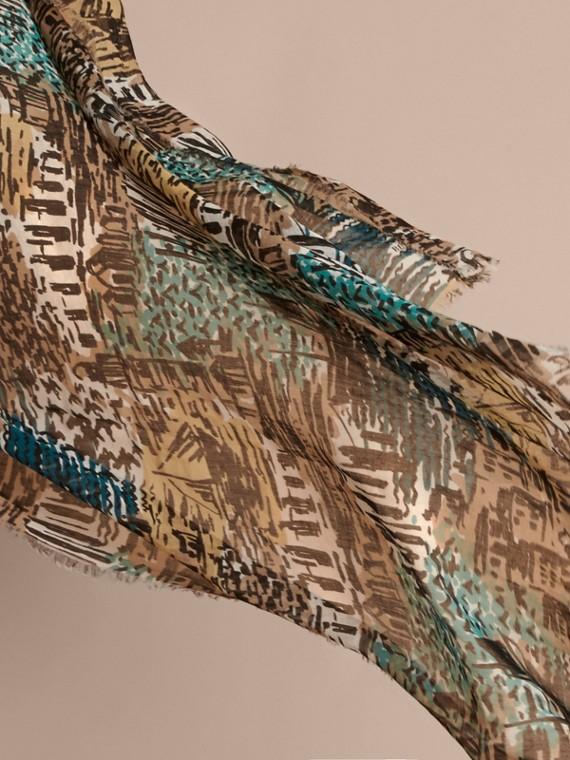 British Seaside Print Cotton Cashmere Scarf Aqua Green - cell image 2