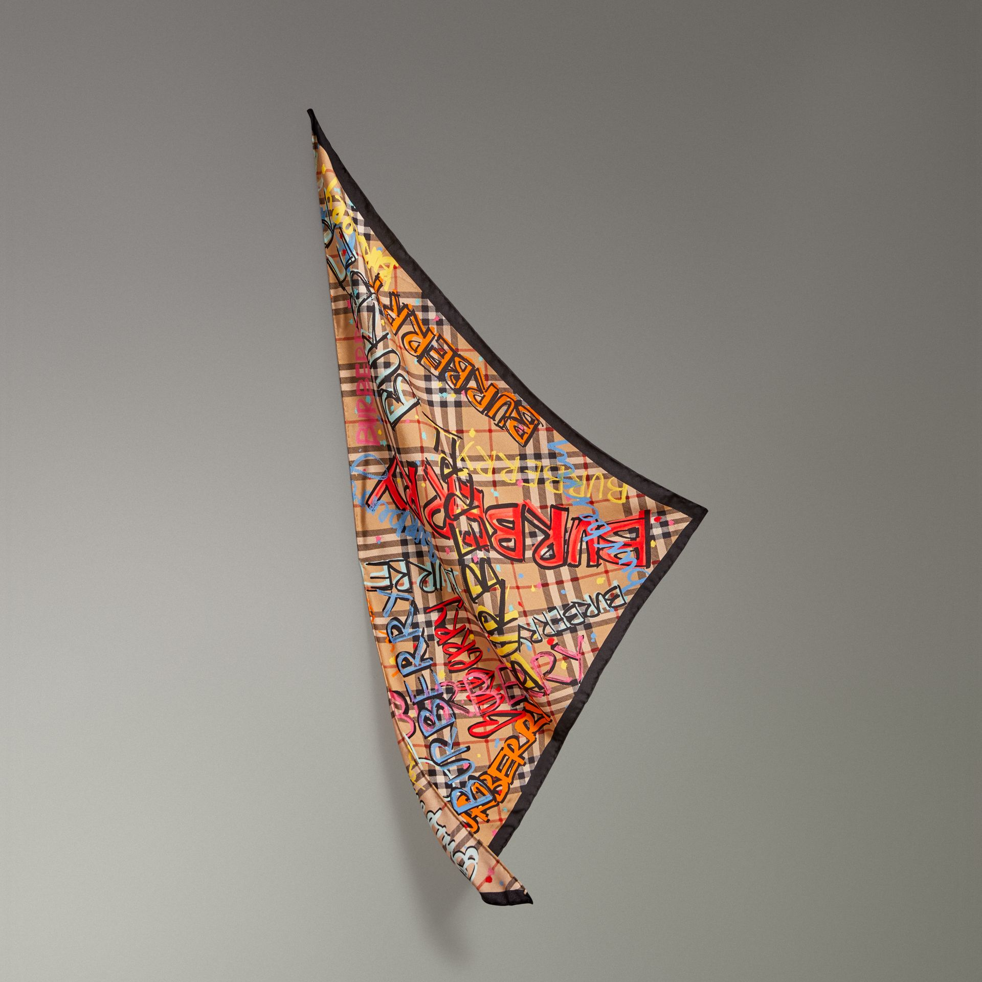 Graffiti Print Vintage Check Silk Scarf in Antique Yellow - Women | Burberry Singapore - gallery image 0