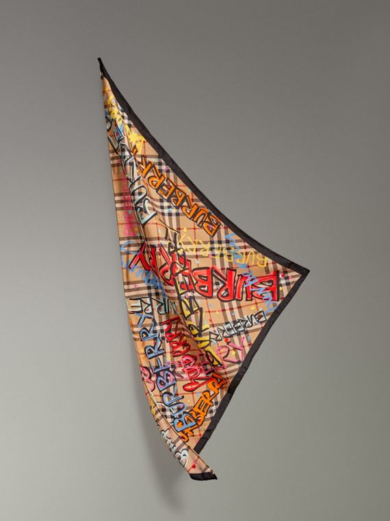 Graffiti Print Vintage Check Silk Scarf in Antique Yellow