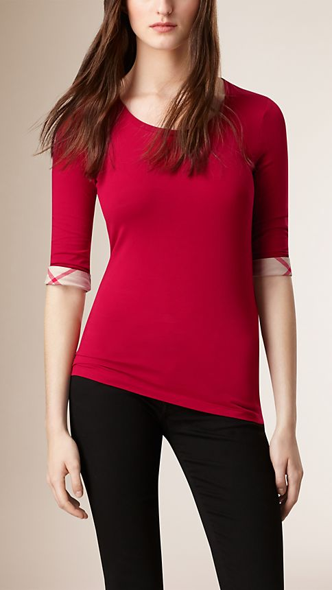 Lacquer red Check Cuff Stretch-Cotton Top Lacquer Red - Image 1