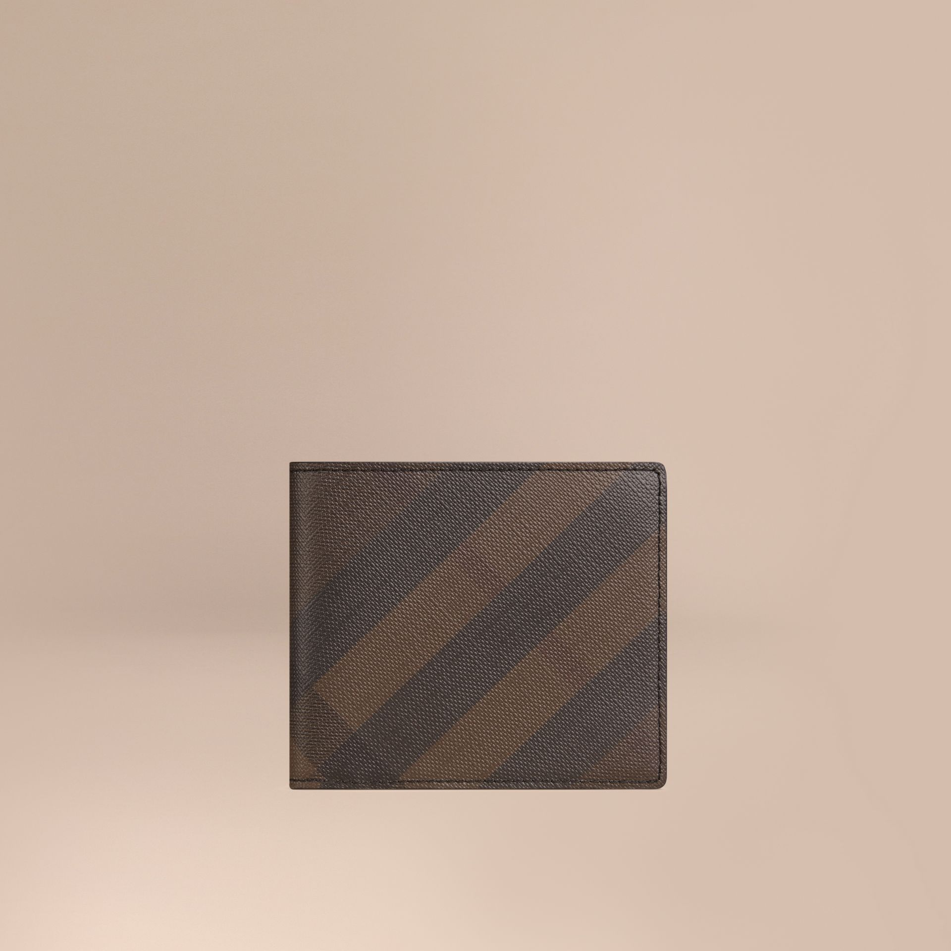 London Check ID Wallet in Chocolate/black - gallery image 1