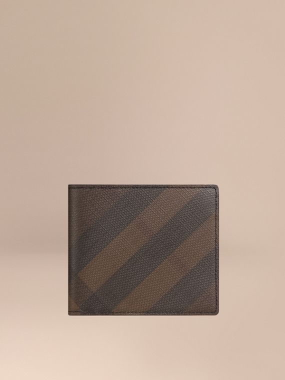 London Check ID Wallet in Chocolate/black