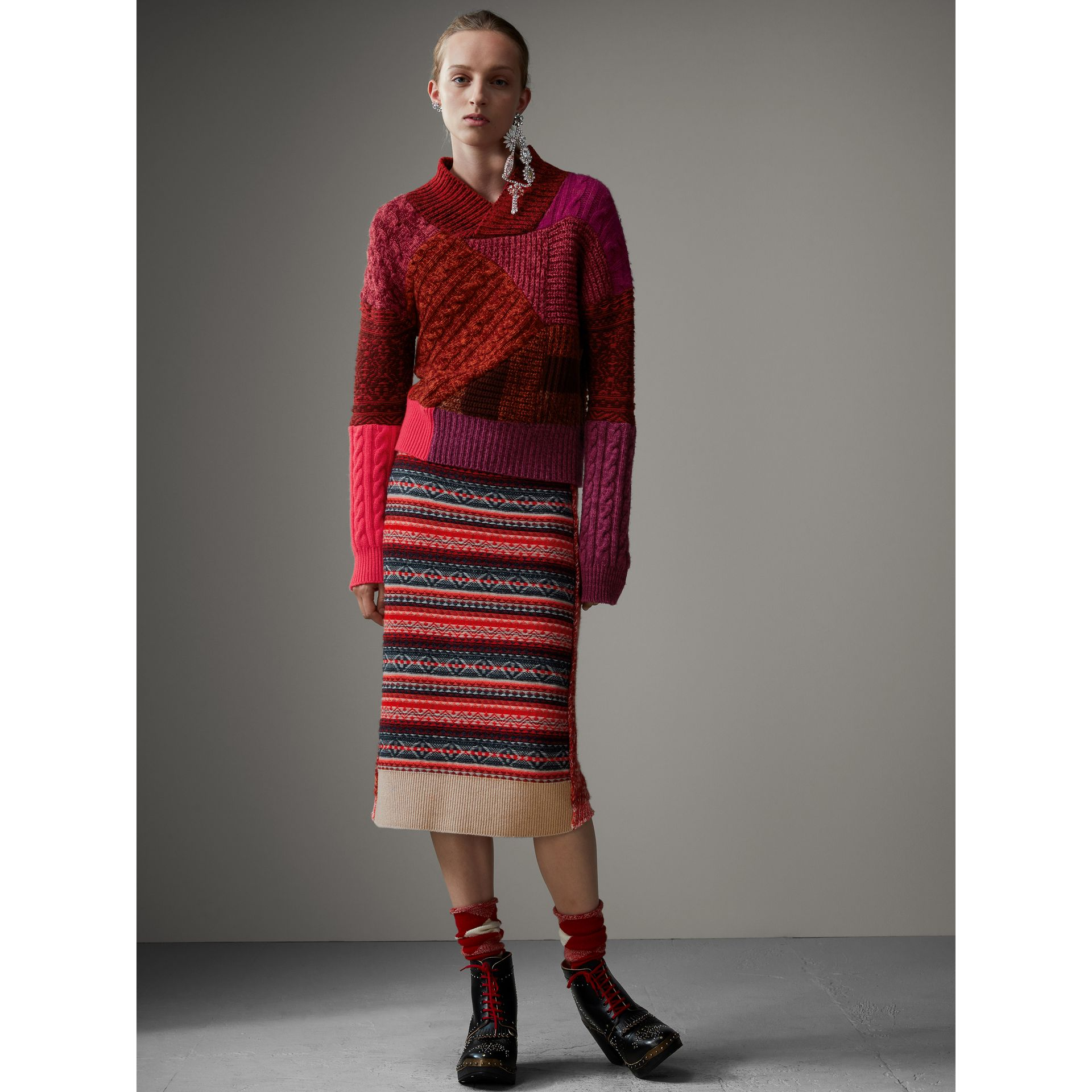 Cashmere Wool Patchwork Sweater in Berry Red - Women | Burberry - gallery image 1