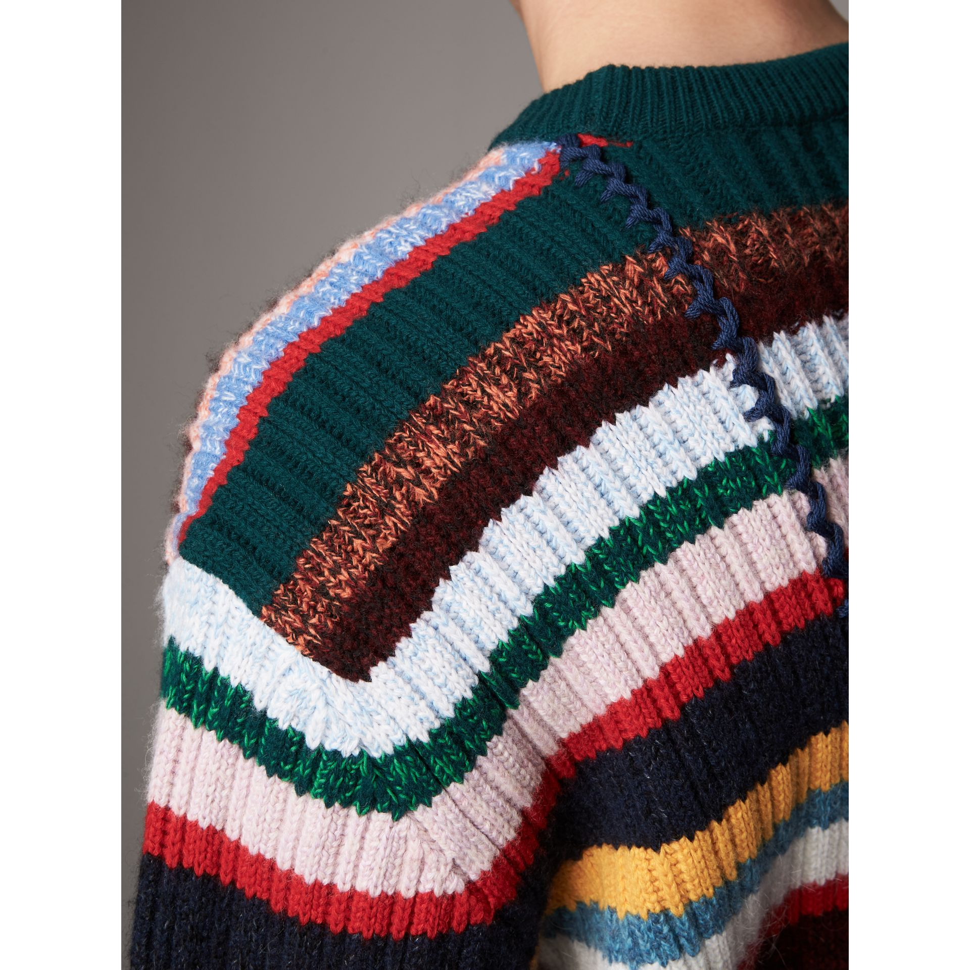 Striped Wool Cashmere Cotton Sweater in Dark Racing Green - Men | Burberry - gallery image 5