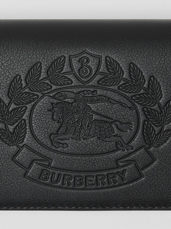 Embossed Crest Leather Continental Wallet in Black - Men | Burberry Canada - cell image 1