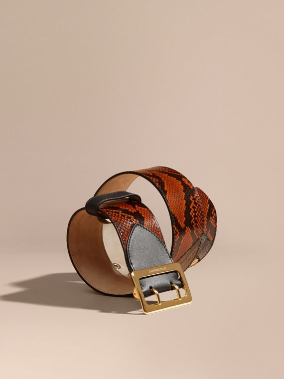Snakeskin Intarsia Waist Belt in Tan