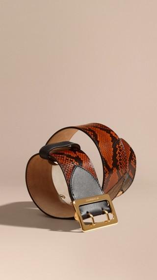 Ceinture en peau de serpent à motif intarsia