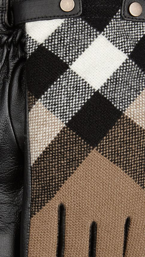 Black Check Wool and Leather Touch Screen Gloves - Image 2
