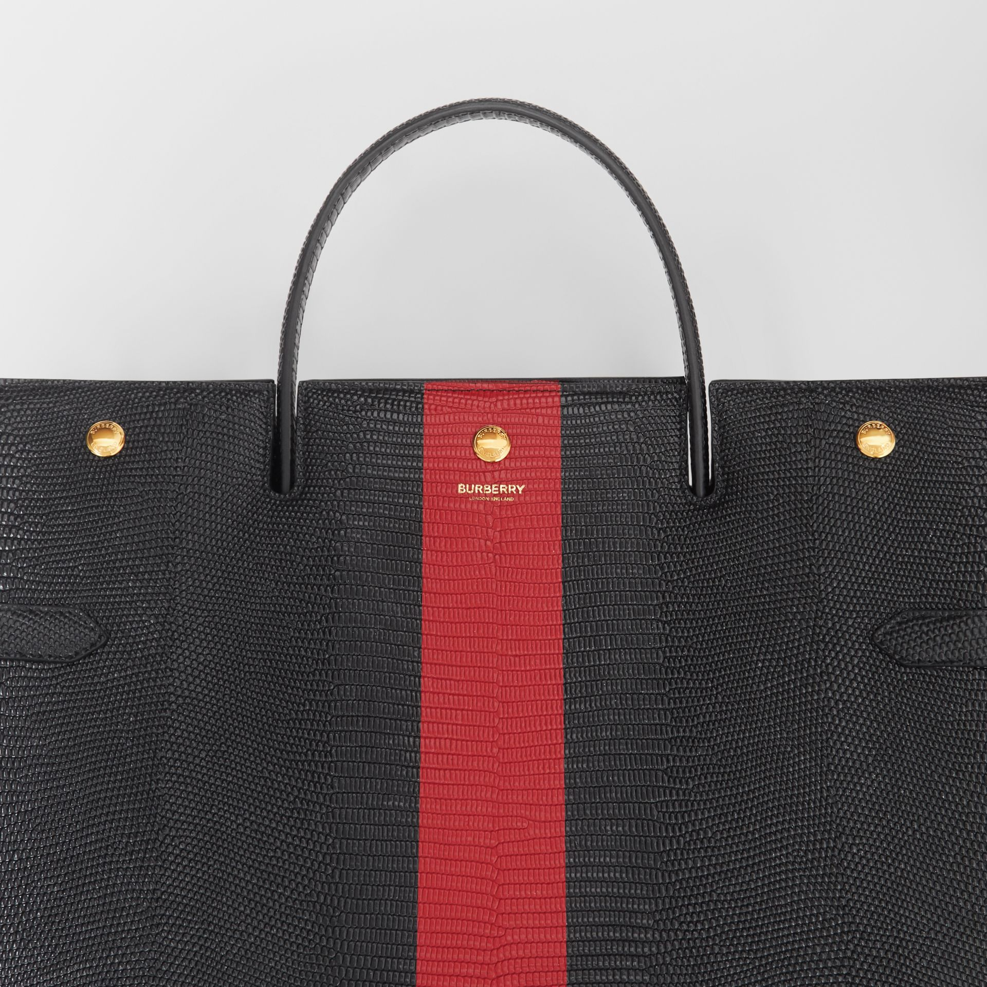 Large Striped Embossed Leather Title Bag in Black - Women | Burberry Australia - gallery image 1