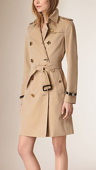 Metal Button Detail Cotton Gabardine Trench Coat