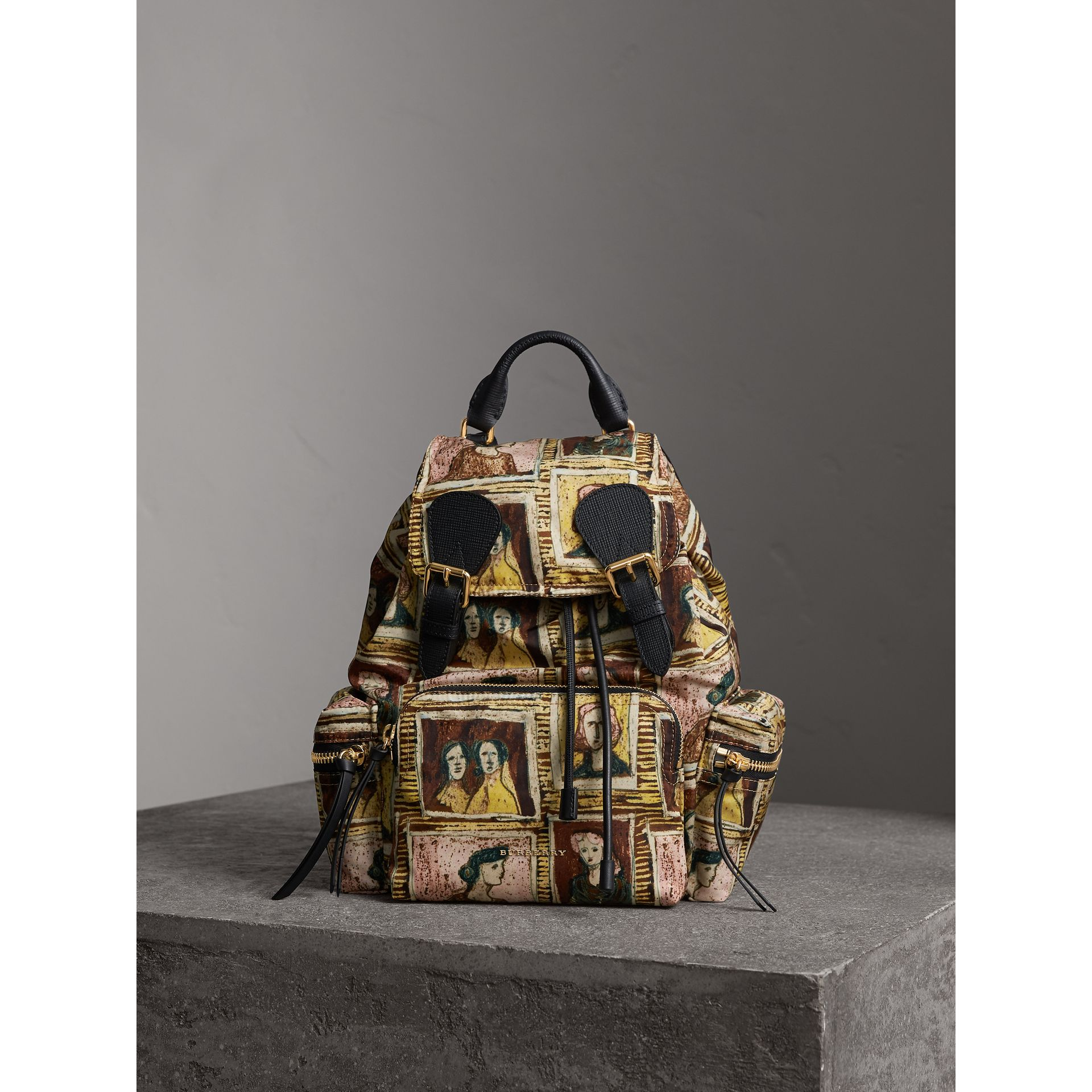 The Medium Rucksack in Framed Heads Print in Umber Brown - Women | Burberry - gallery image 1