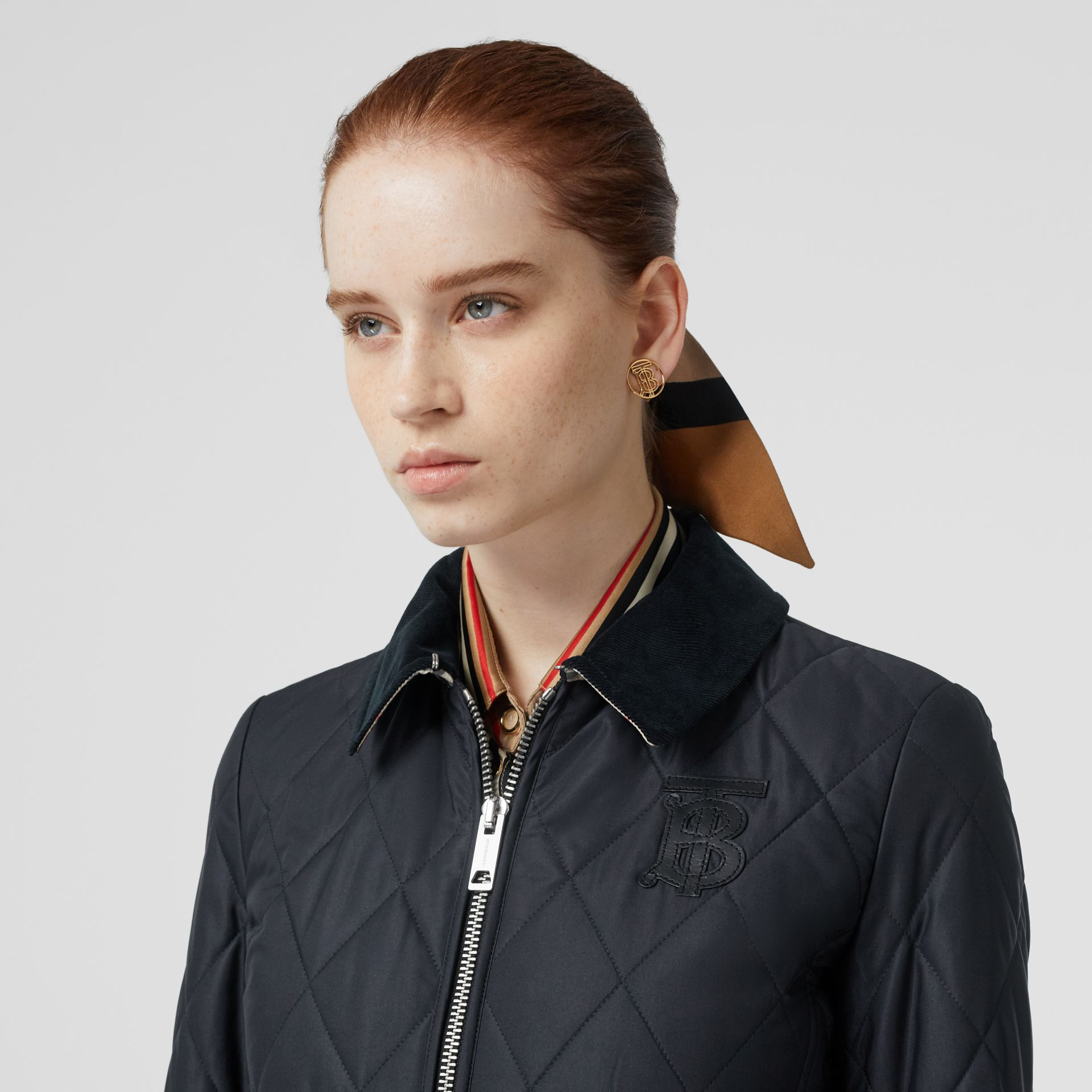 Monogram Motif Quilted Riding Jacket in Navy - Women | Burberry - gallery image 1