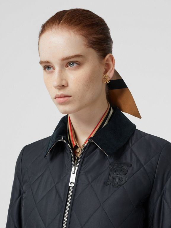 Monogram Motif Quilted Riding Jacket in Navy - Women | Burberry - cell image 1