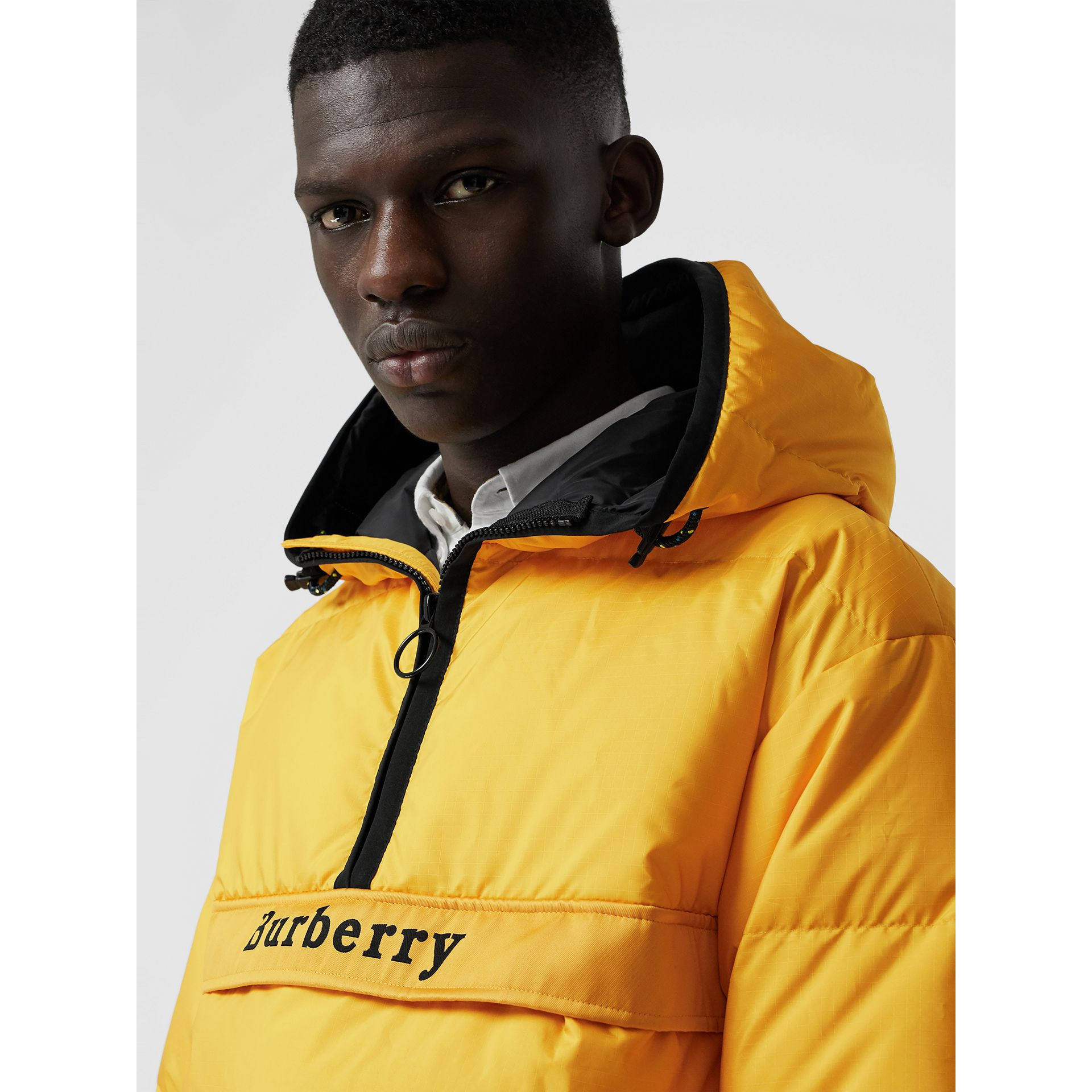Down-filled Anorak with Detachable Mittens in Bright Yellow - Men | Burberry - gallery image 1