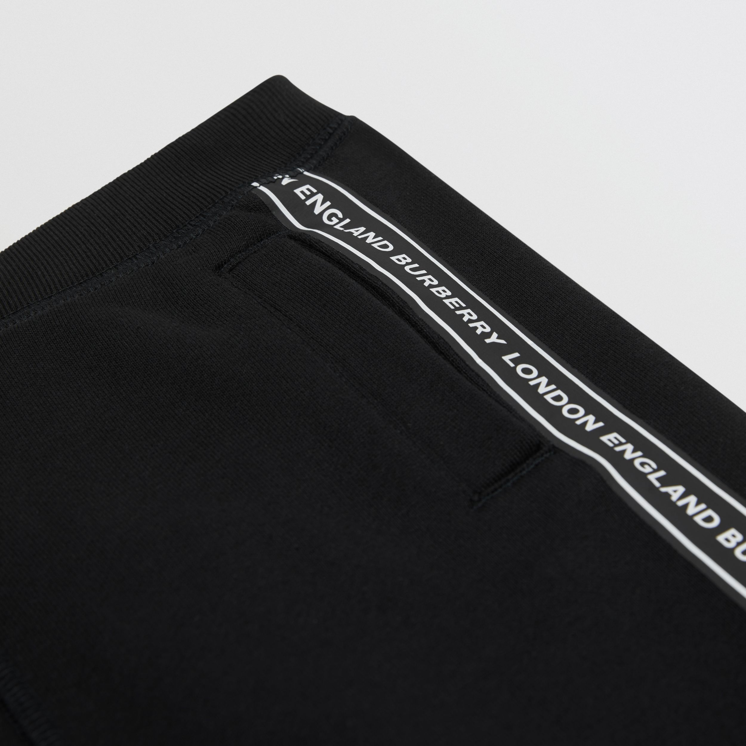 Logo Tape Cotton Drawcord Shorts in Black | Burberry Canada - 2
