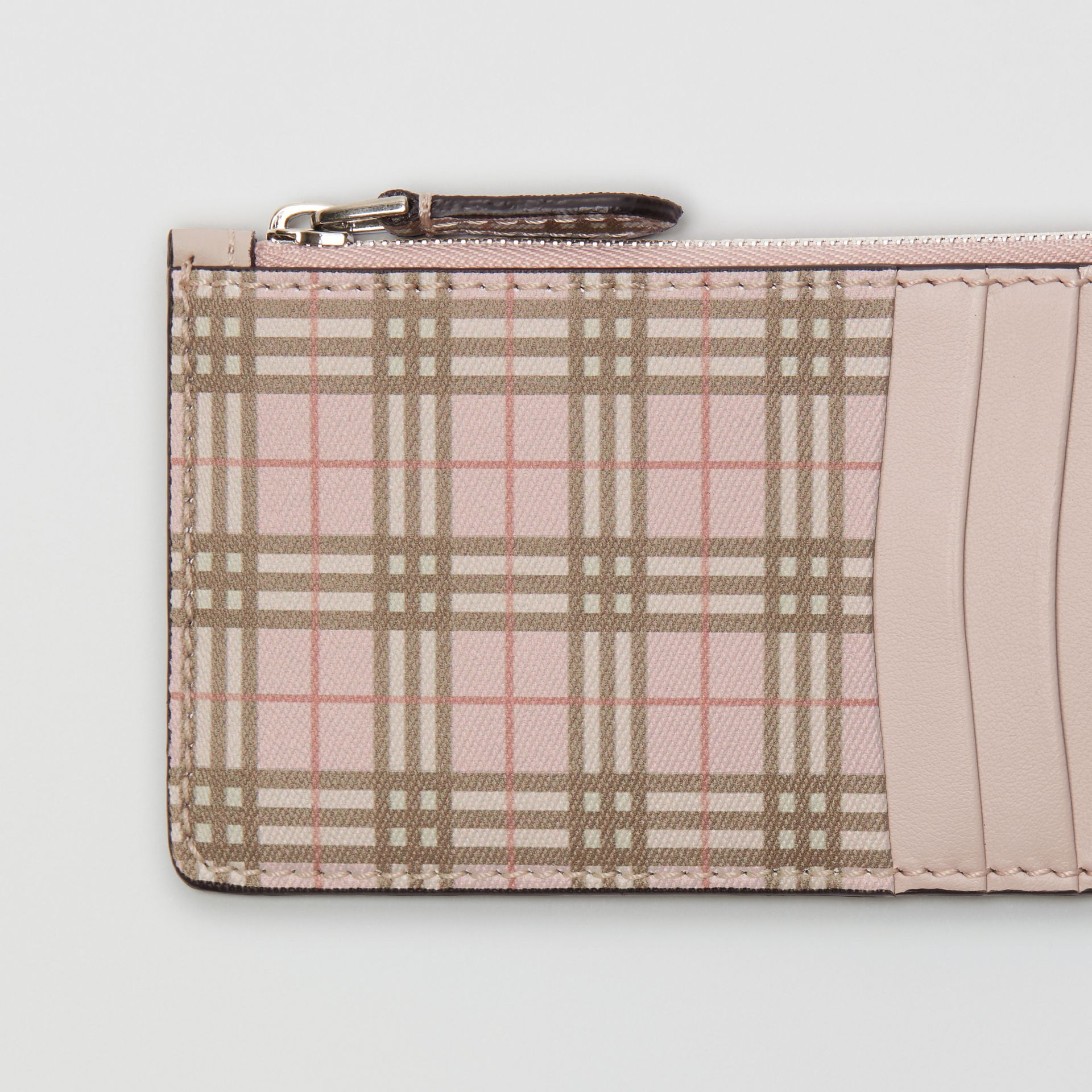 Small Scale Check and Leather Card Case in Pink - Women | Burberry United States - gallery image 1