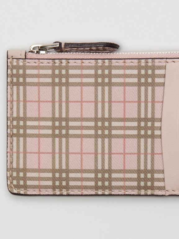 Small Scale Check and Leather Card Case in Pink - Women | Burberry - cell image 1