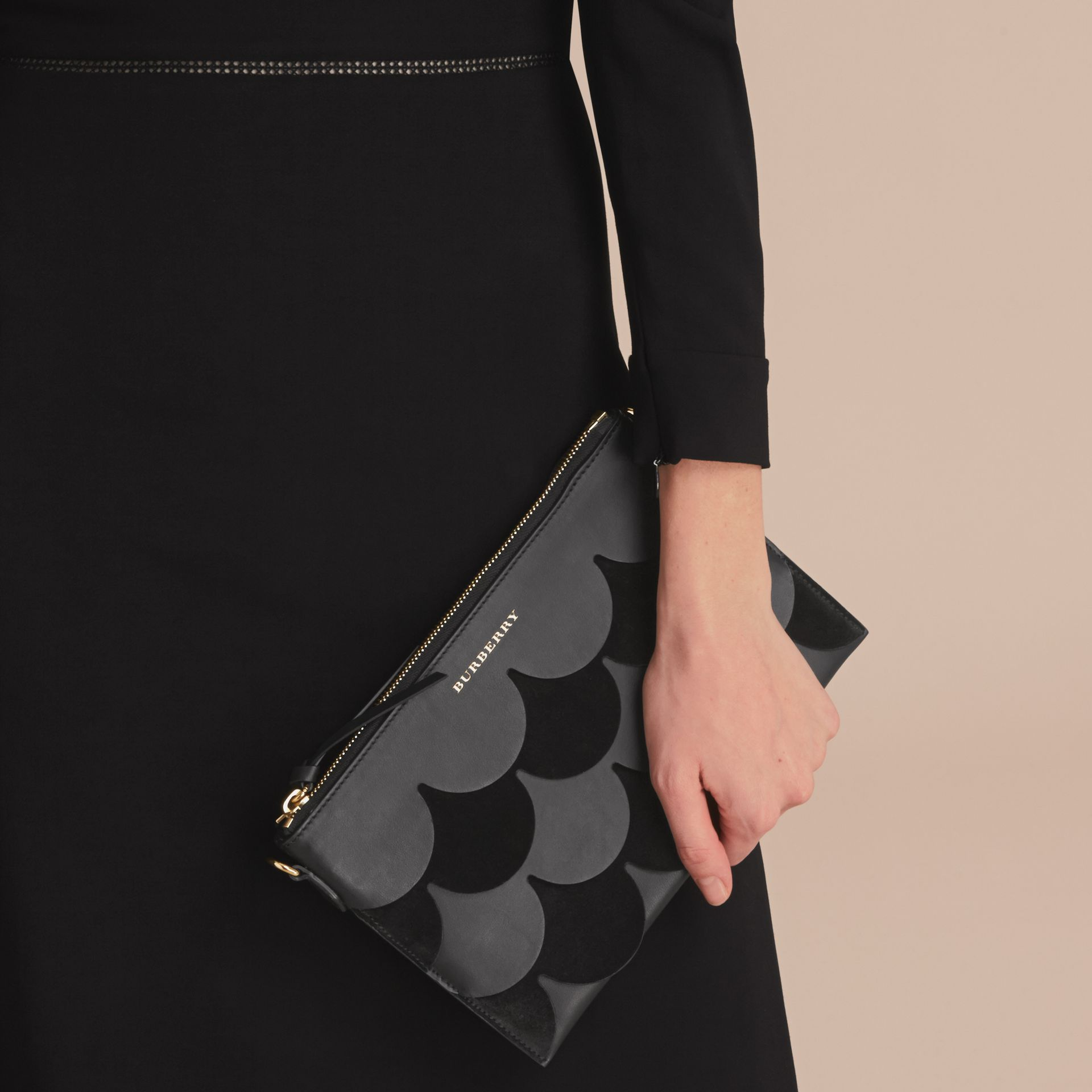 Two-tone Scalloped Leather and Suede Clutch Bag in Black - Women | Burberry - gallery image 4