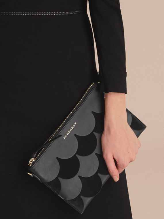 Two-tone Scalloped Leather and Suede Clutch Bag in Black - Women | Burberry - cell image 3