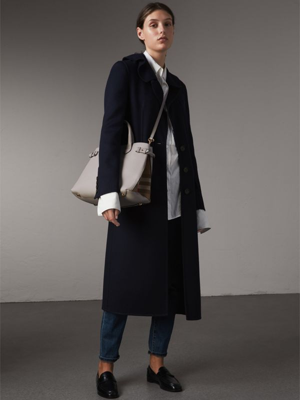 The Medium Banner in Leather and House Check in Light Grey Melange - Women | Burberry Australia - cell image 2