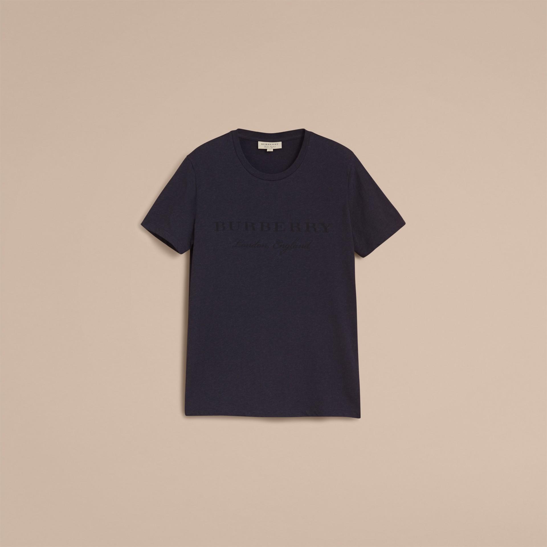 Contrast Motif Cotton Blend T-shirt Navy Melange - gallery image 4