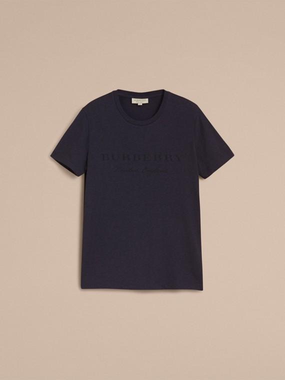 Contrast Motif Cotton Blend T-shirt Navy Melange - cell image 3