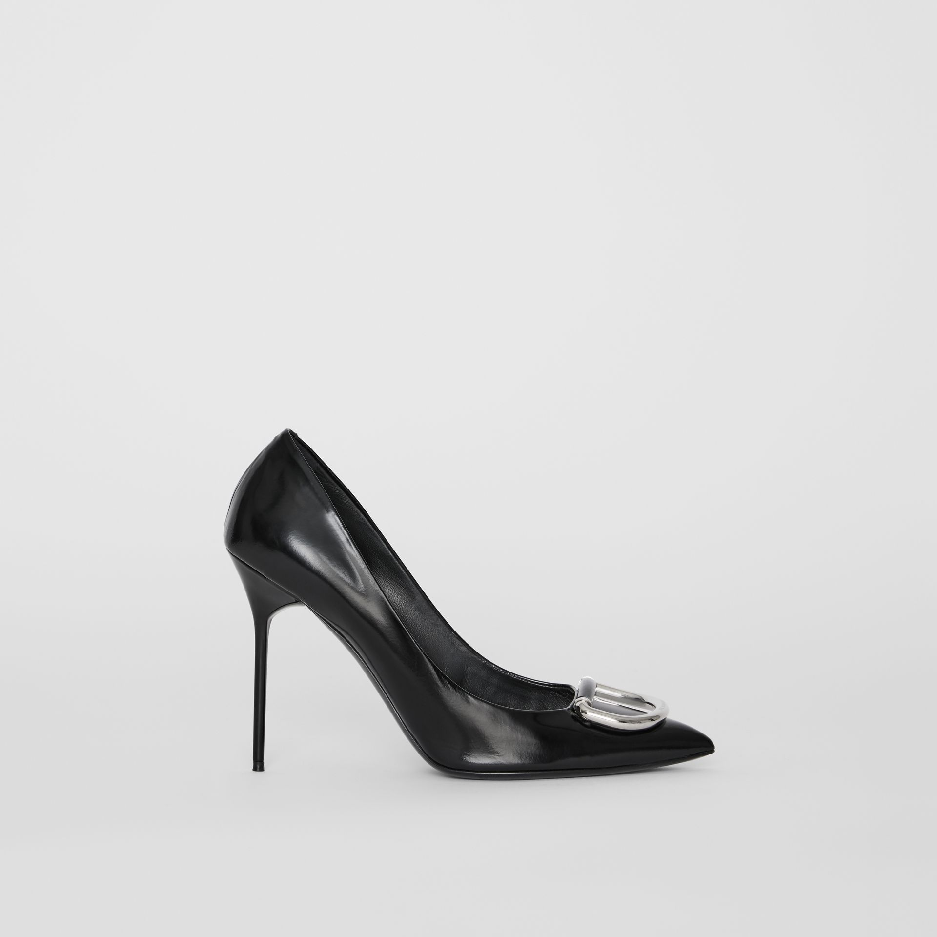 The Patent Leather D-ring Stiletto in Black/nickel - Women | Burberry United Kingdom - gallery image 5