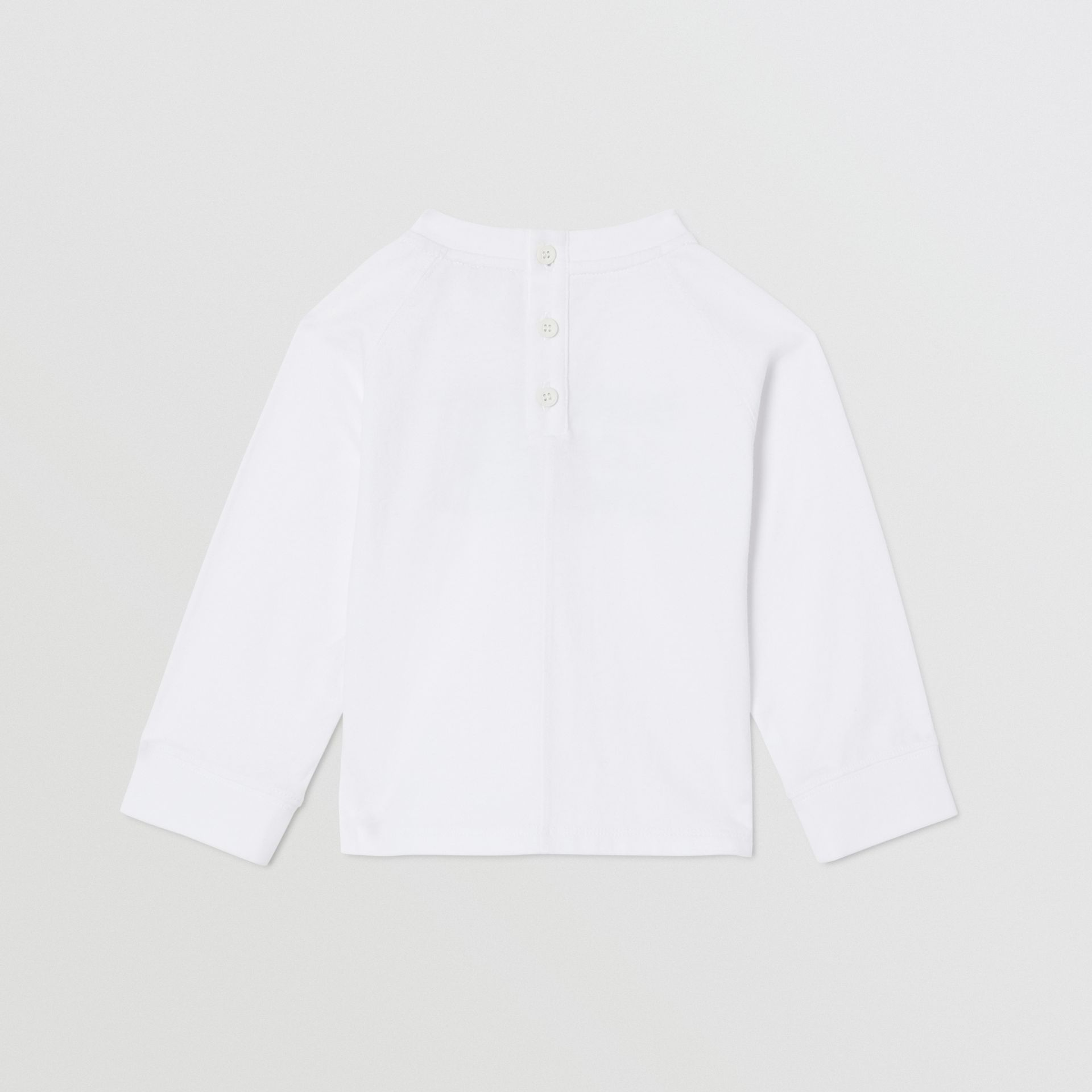 Long-sleeve Logo Print Cotton Top in White - Children | Burberry United Kingdom - gallery image 4