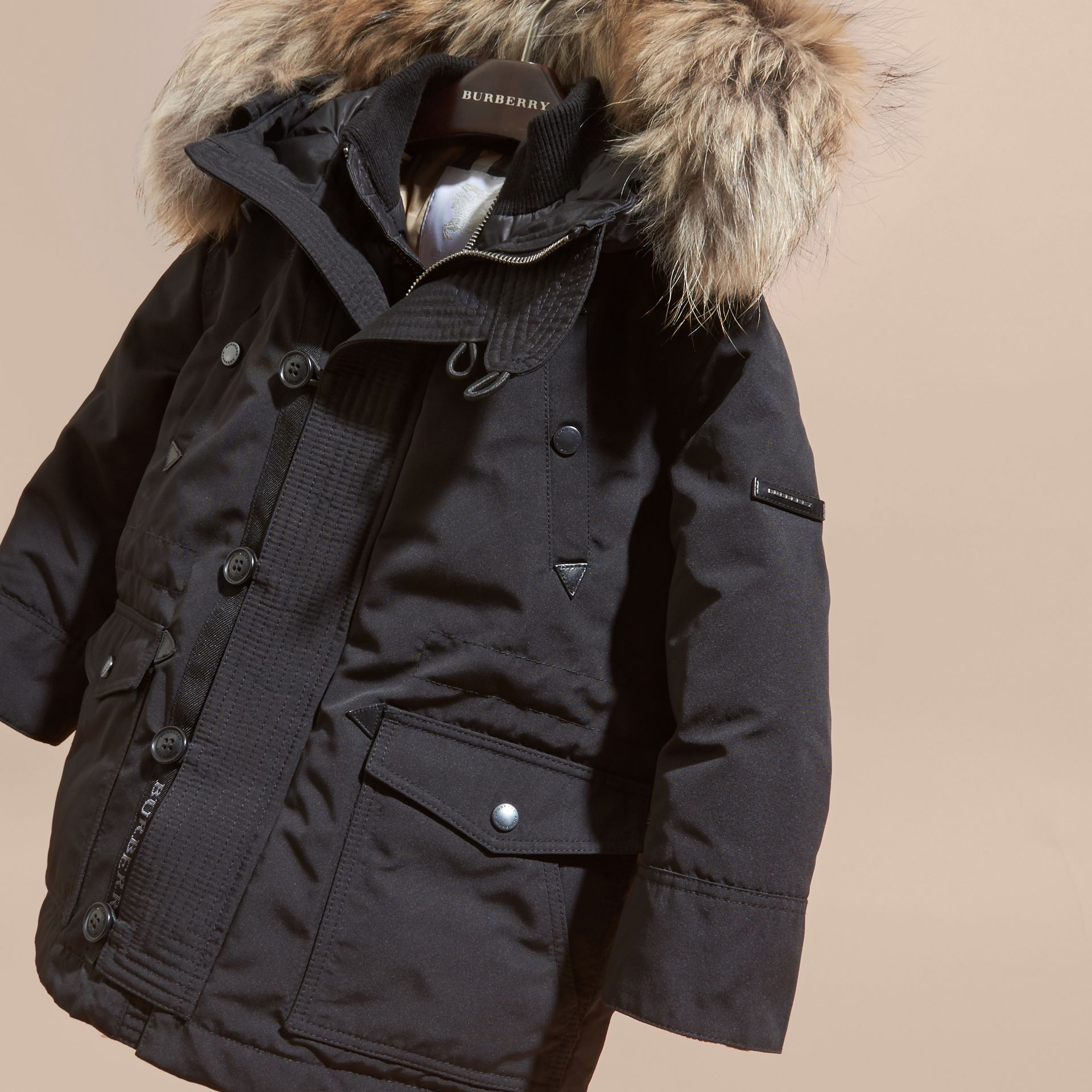 Fur-Trimmed Down-Filled Hooded Puffer Coat in Black - Boy | Burberry Singapore - gallery image 2