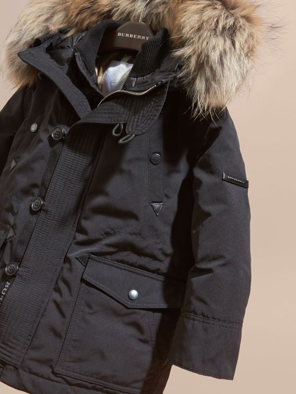 Fur-Trimmed Down-Filled Hooded Puffer Coat in Black | Burberry - cell image 2