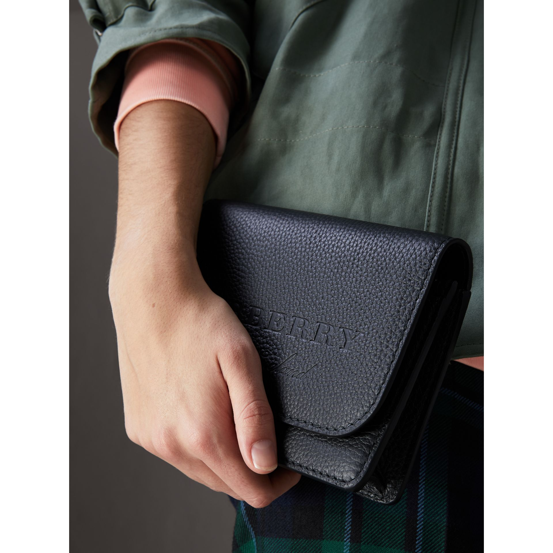 Embossed Leather Wallet with Detachable Strap in Black - Women | Burberry United States - gallery image 3