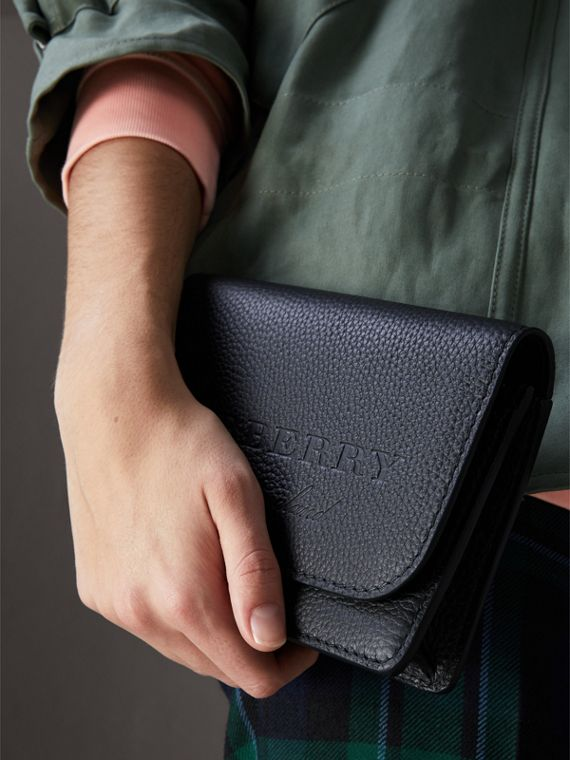 Embossed Leather Wallet with Detachable Strap in Black - Women | Burberry United States - cell image 3