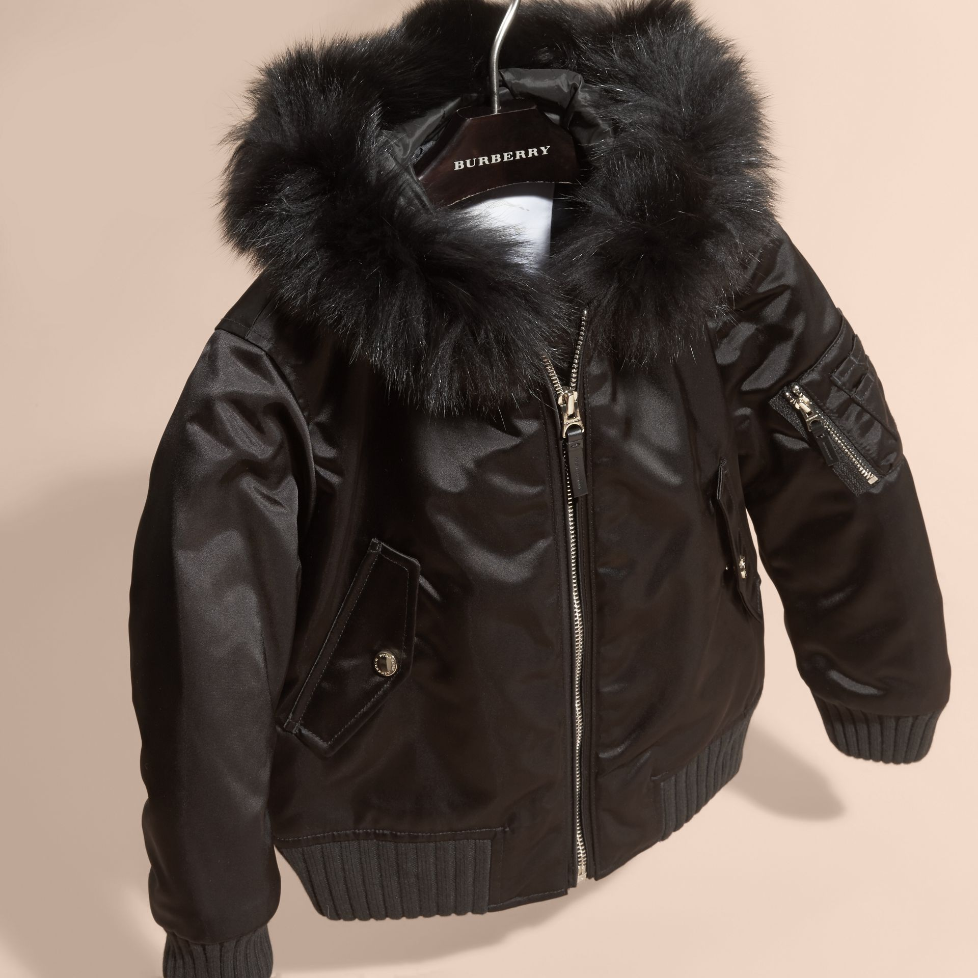 Black Hooded Satin Bomber Jacket with Detachable Fur Trim - gallery image 3