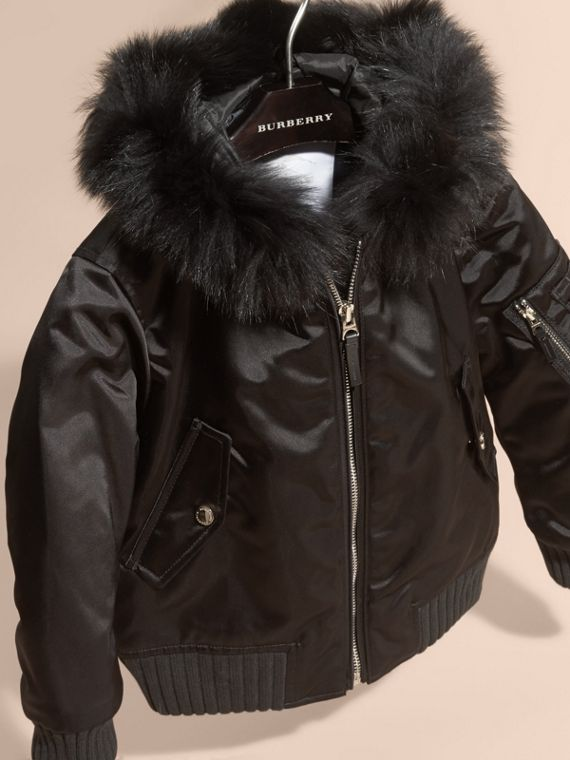 Black Hooded Satin Bomber Jacket with Detachable Fur Trim - cell image 2