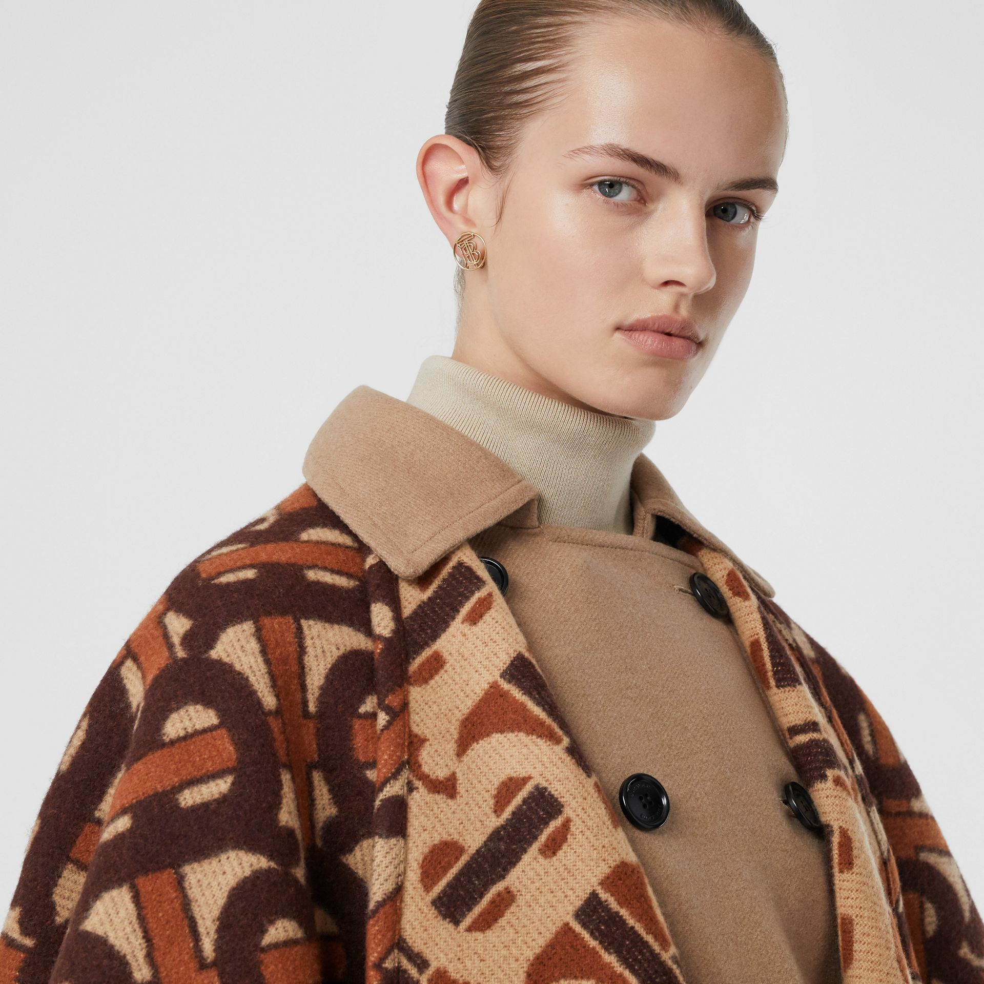 Monogram Merino Wool Cashmere Jacquard Cape in Dark Mocha - Women | Burberry Canada - gallery image 1