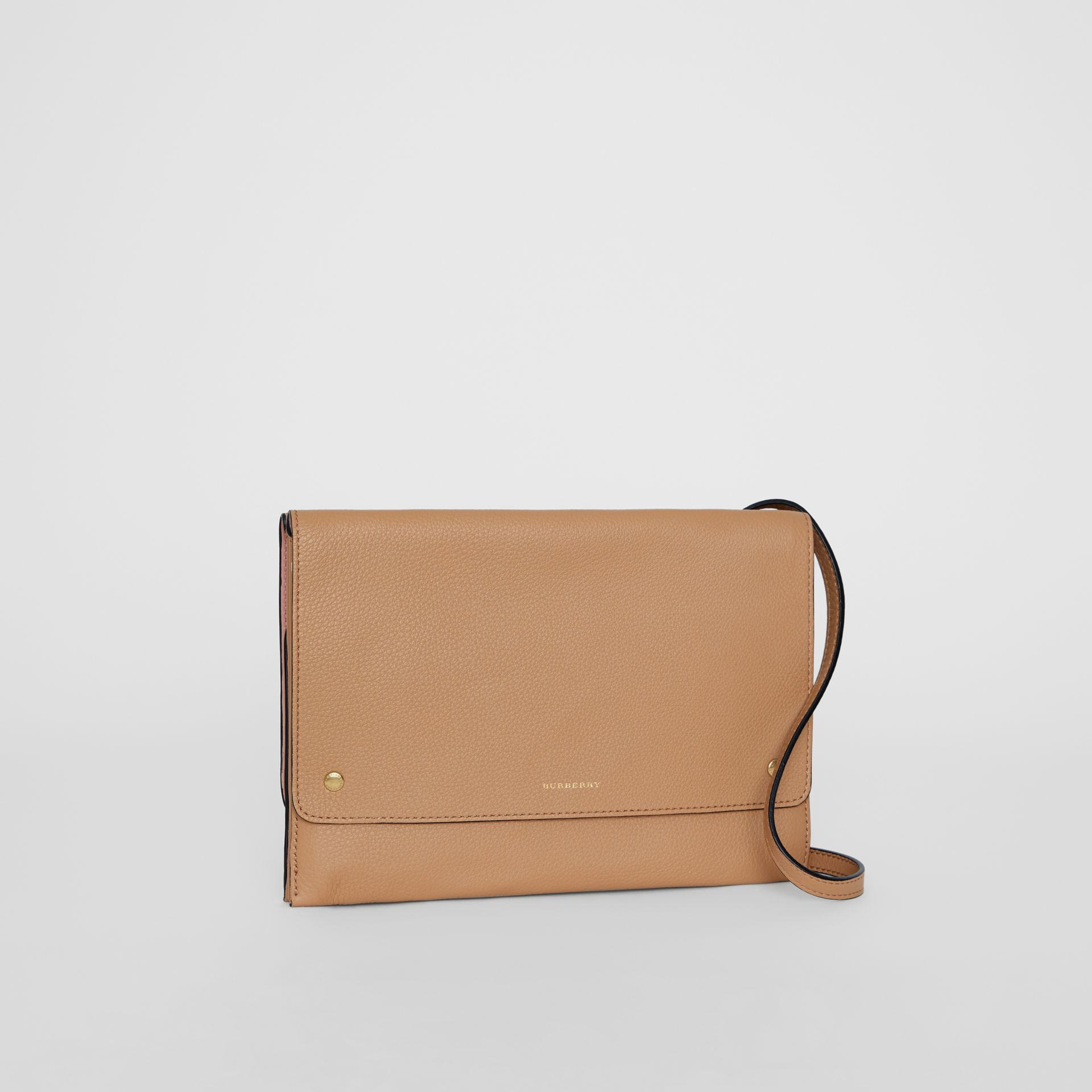 Leather Pouch with Detachable Strap in Light Camel - Women | Burberry United States - gallery image 6