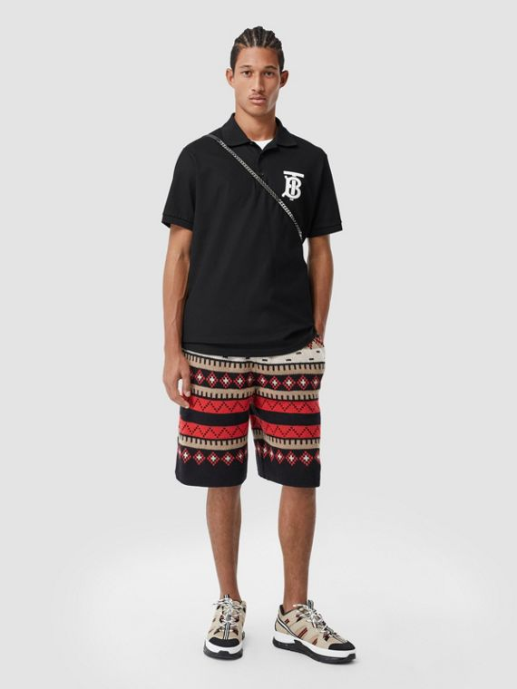 Monogram Motif Cotton Piqué Oversized Polo Shirt in Black