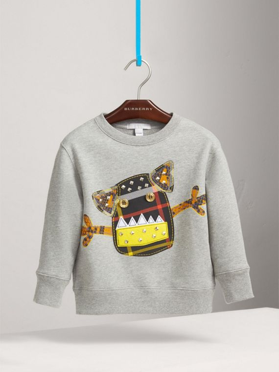 Creature Motif Cotton Jersey Sweatshirt in Grey Melange - Boy | Burberry United States - cell image 2