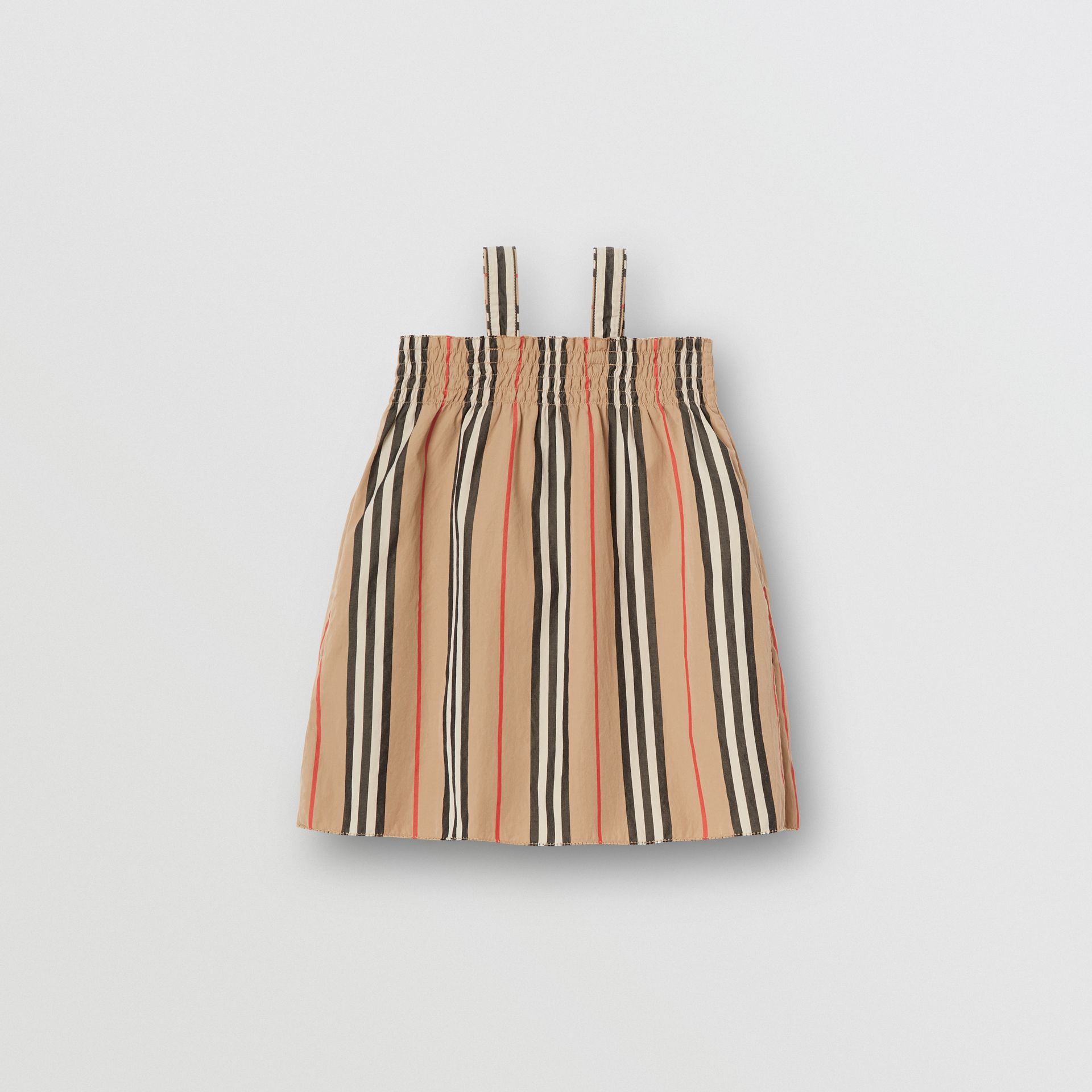 Smocked Icon Stripe Cotton Dress in Archive Beige - Children | Burberry - gallery image 3